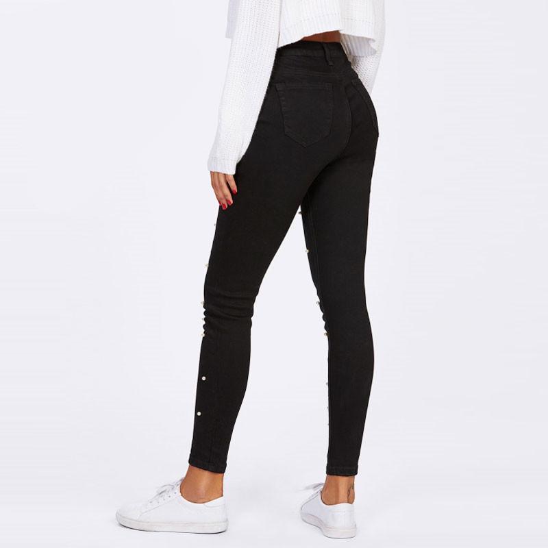 efad1c11660 Cheap Women Jeans Pants Skinny Pearl Beaded Front Jeans Summer Spring Mid  Waist Zipper Fly Long Denim Casual Pants