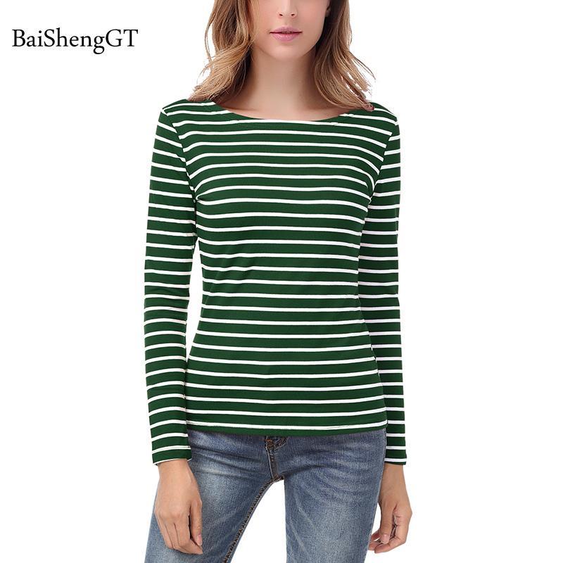 Grandes Colores 2018 Camiseta Manga Larga Inferiores Para Tallas Clásicas Mujer Rayas De Camisetas Mujeres 8wm0Nn