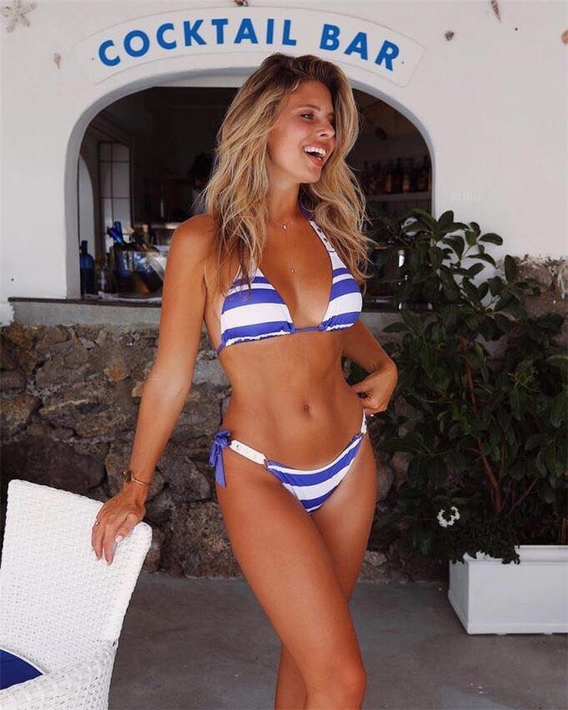 2e162504bbc23 2019 White Blue Striped Bikini Set Push Up Bandage Patchwork Bikini Set  2018 Swimwear Women High Quality Cute Bikini Bathing Suit From  Mingmusic002