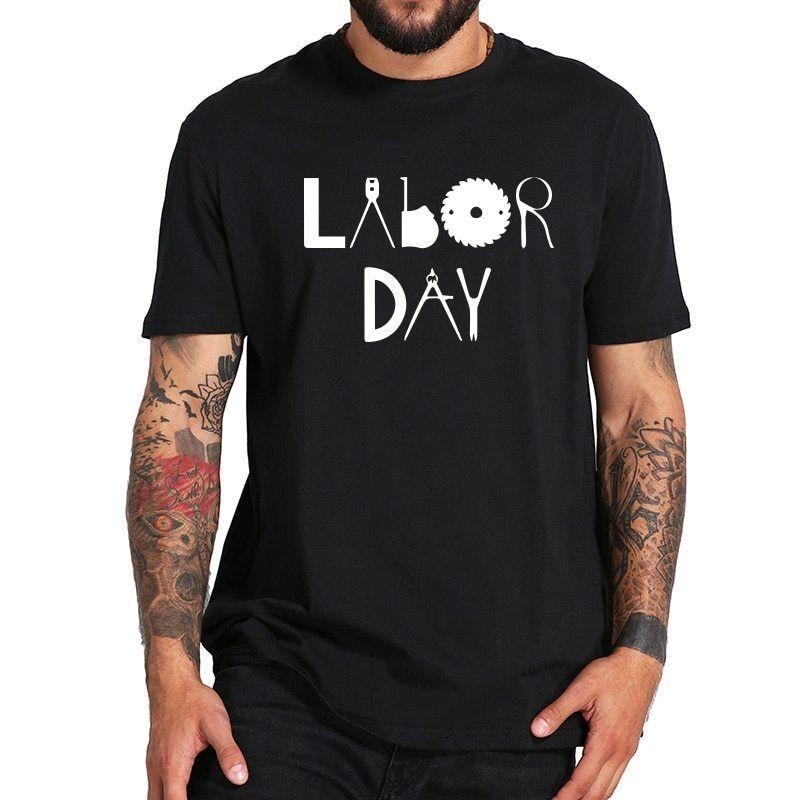 Labor Day Top Clothing Men Harajuku Cool Cotton Tee Shirt Homme Hipster
