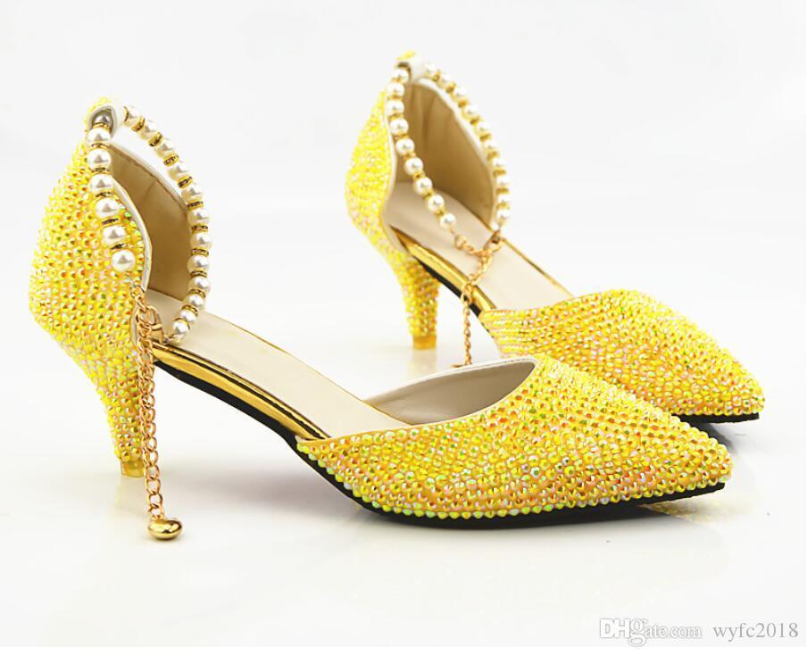 Neue eine Zitrone gelb wies AB Diamant, hohe Hochzeit Braut Kristall Hochzeit Schuhe Sandalen Wasserbohrer Bankett Schuhe