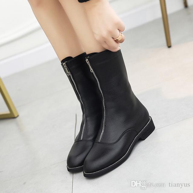 bc64b0ffd Compre Mulheres Botas De Couro Mid Calf Sapatos De Plataforma De Salto  Grosso Dedo Do Pé Redondo Botas De Moda Feminina Com Zíper De Malha  Senhoras Sapato ...