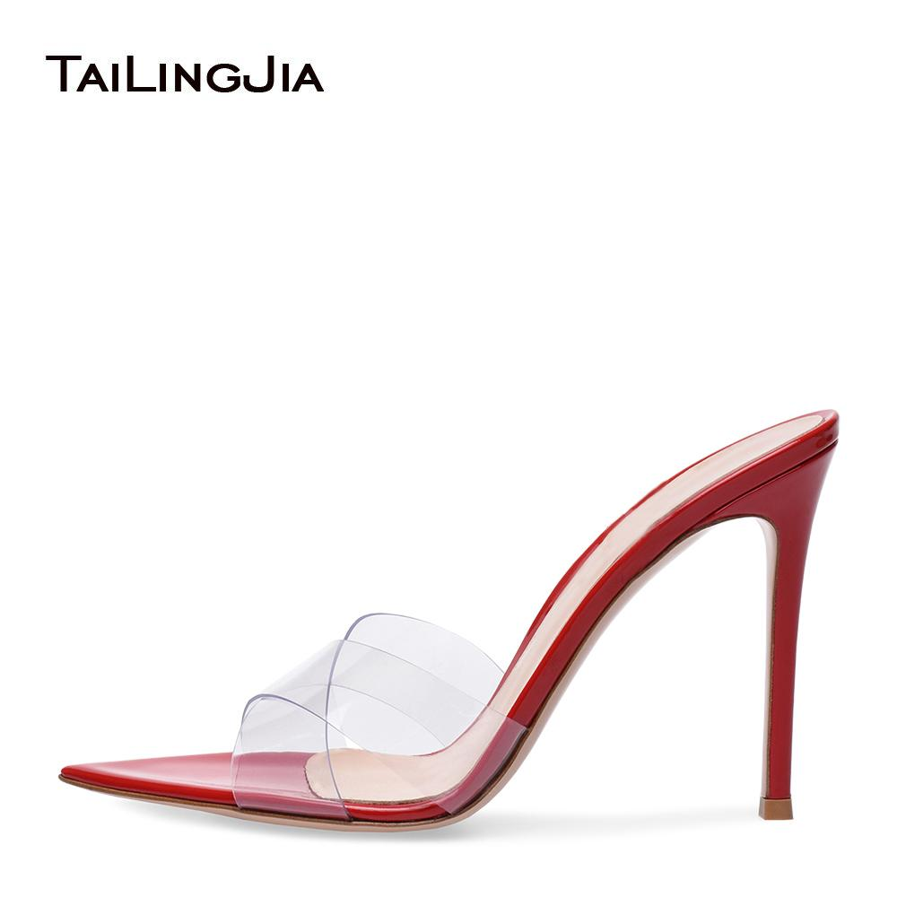 d3487ae3acb8d Women Open Pointy Toe Transparent PVC Mules High Heel Red Sandals Nude  Wedding Heels Ladies Black Stiletto Heel Summer Shoes Gold Shoes Flat Shoes  From ...
