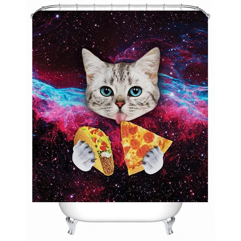 2019 Funny Cat Shower Curtain Printed Waterproof Polyester Bath Bathroom Accessories 180x180cm Curtains Home Decoration From Hariold