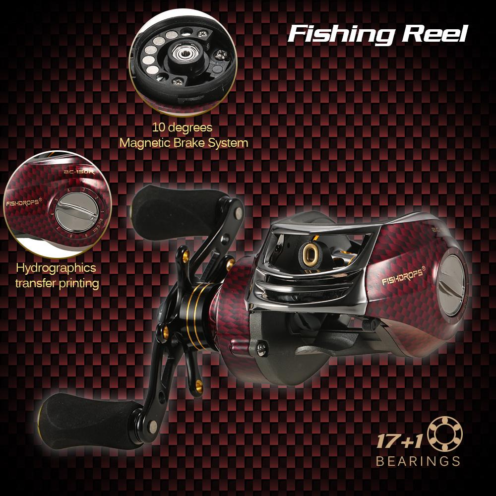 17+1 Ball Bearings Left / Right Hand Bait Casting Gear Ratio 6.3:1 Baitcasting Reel Fishing Tackle Tool Pesca