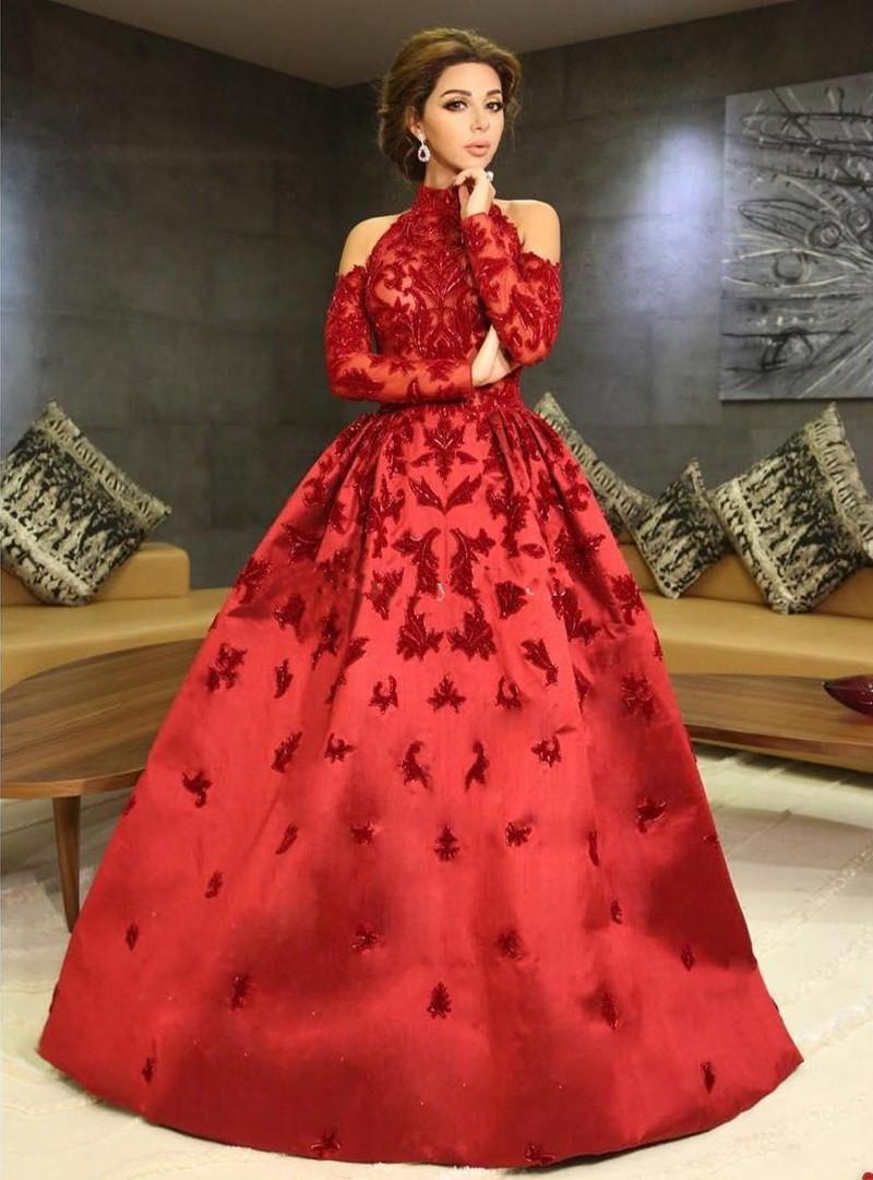 Cuello alto Halter Mangas largas Apliques Satén con cuentas Vestido de gala Vestidos de gala Formal Vestidos de fiesta de lujo Rojo Myriam Fares Vestidos de noche