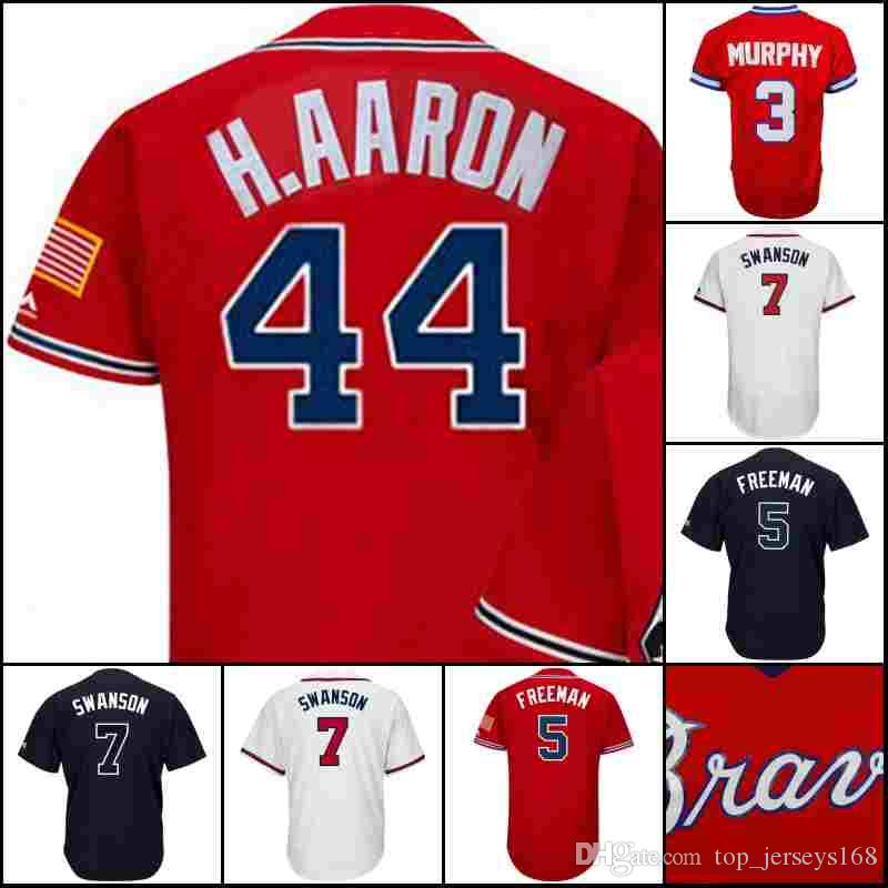 559e1fb3e Men's #10 Chipper Jones 44 Hank Aaron 5 Freddie Freeman 3 Dale ...