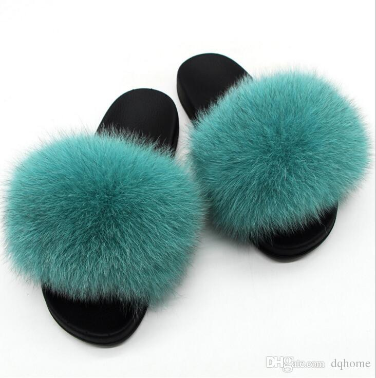 7d8a46f7b Fox Hair Slippers Women Fur Home Fluffy Sliders Plush Furry Summer Flats  Sweet Ladies Shoes Large Size Hot Sale Cute Pantufas Slippers Rain Boots  From ...