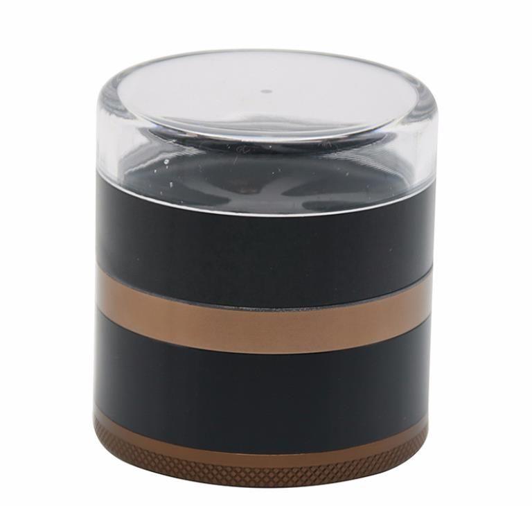 Five layers of aluminum alloy transparent cover smoke grinder diameter 63MM petal fan-shaped cigarette cutter