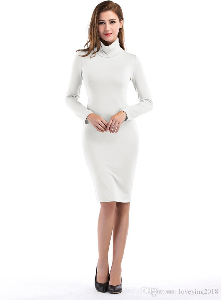 Long Sleeve Turtle Neck Casual Dresses