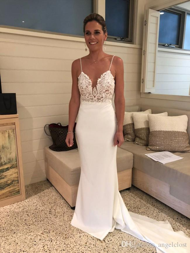 Charming Mermaid Lace Wedding Dresses 2019 V Neck Spaghetti Backless Court Train Appliques Beaded Pearls Beach Country Garden Bridal Gowns