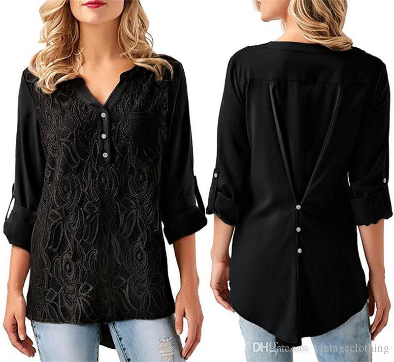 Women's Clothing Casual Women Mesh Blouse And Tops Summer Top Casual Loose Solid Lace V-neck Chiffon Blouses Sexy Female Shirts Vest Blusa