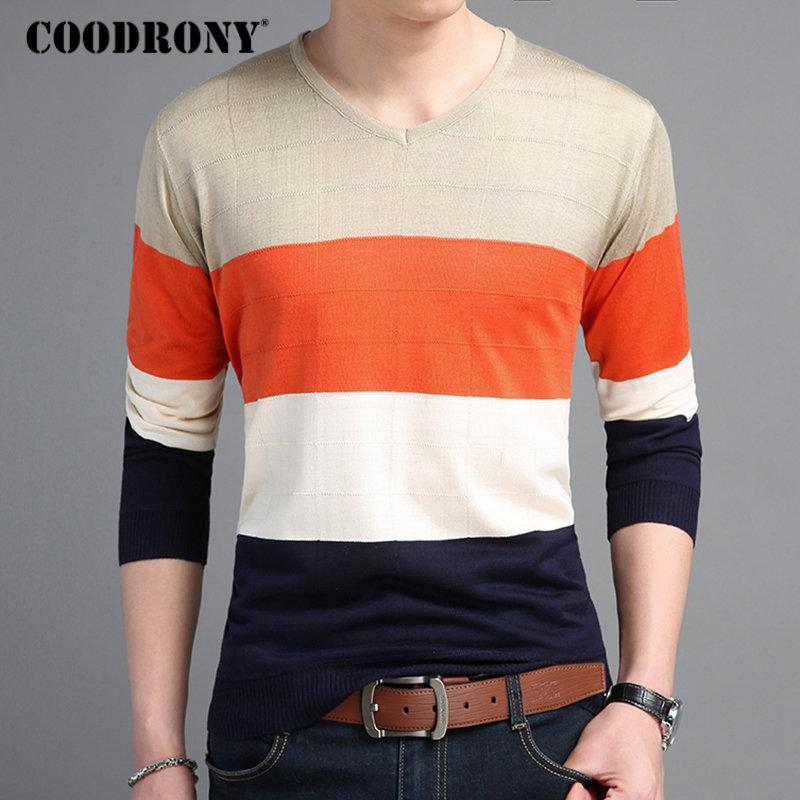 0260f1396b 2019 COODRONY Mens Sweaters 2018 Autumn Cotton Pullover Men Casual V Neck  Thin Sweater Men Striped Long Sleeve Shirt Pull Homme 8221 From Zanzibar