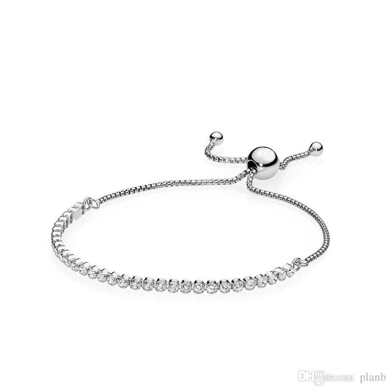 Mujeres Sterling Silver Bracelets Clear CZ Diamond Tamaño ajustable Brillante Crystal Bracelet Fit Pandora Jewelry Womens Día de San Valentín Regalo