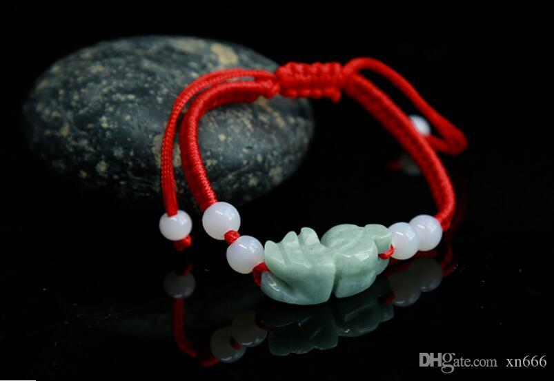 China hand knit red Rope Bracelet & carved Natural jade bead Pendant