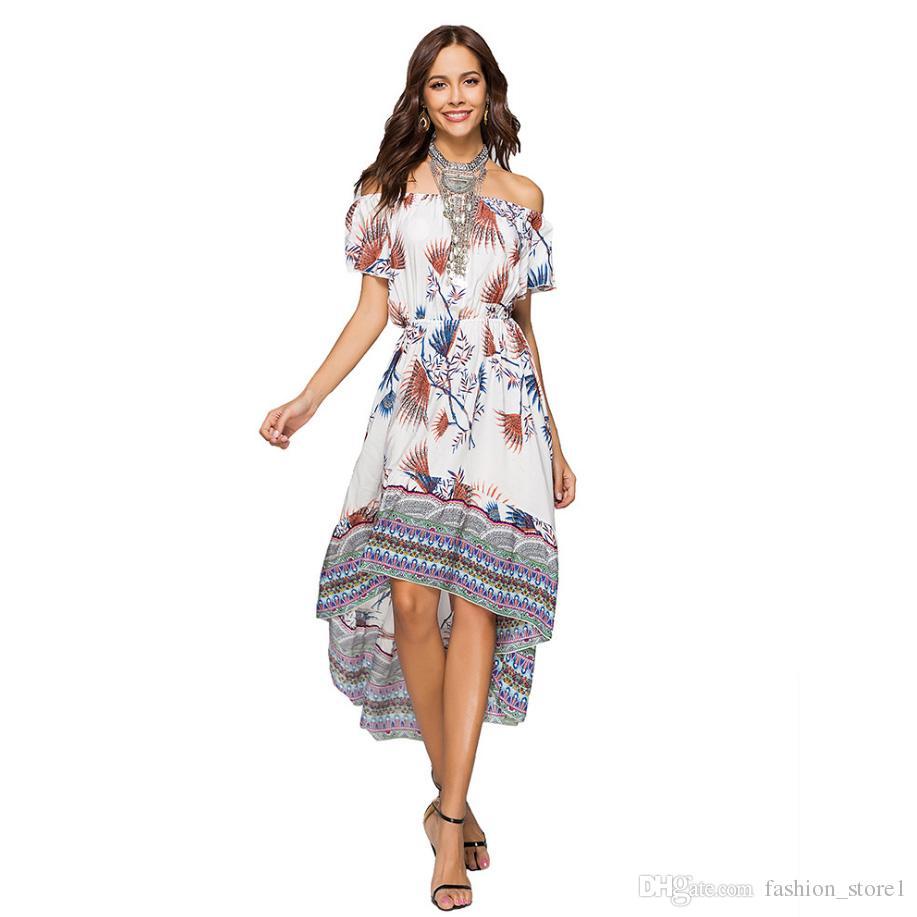 2d199dd54e650 2018 New Women Summer Boho Beach Off Shoulder Floral Dress Slash Neck  Asymmetrical Ladies Party Dresses Dress Designers Plus Size Maxi Dress From  ...