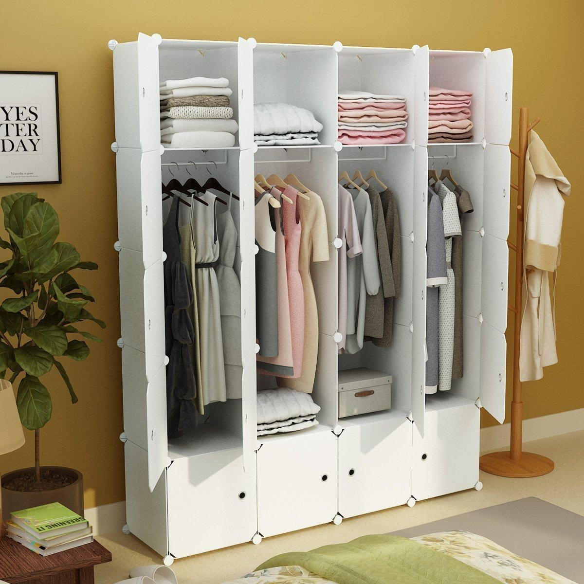 diy portable wardrobe clothes closet modular storage organizer space saving armoire deeper cubes. Black Bedroom Furniture Sets. Home Design Ideas