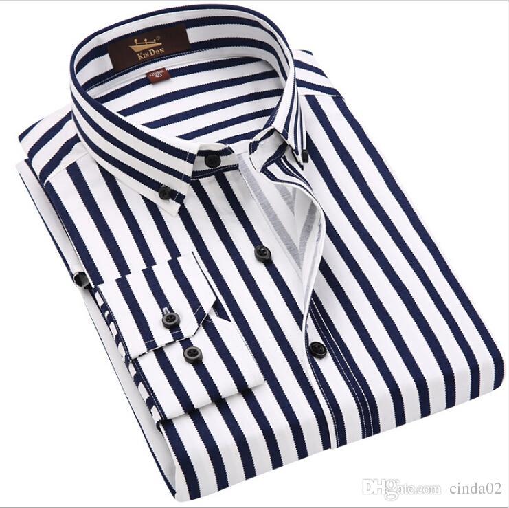 Man Long Sleeved Wide Striped Shirt Stretch Business Casual Shirt Mens Casual Fashion Shirt