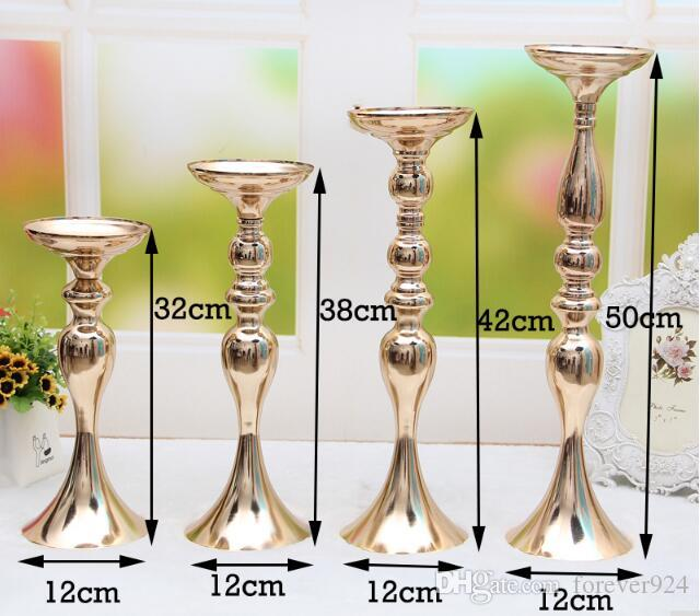 elegant Wedding Decorations Metal Candle Stand Flowers Vase Candlestick Gold Plate Candle Holder for wedding table centerpieces decoration