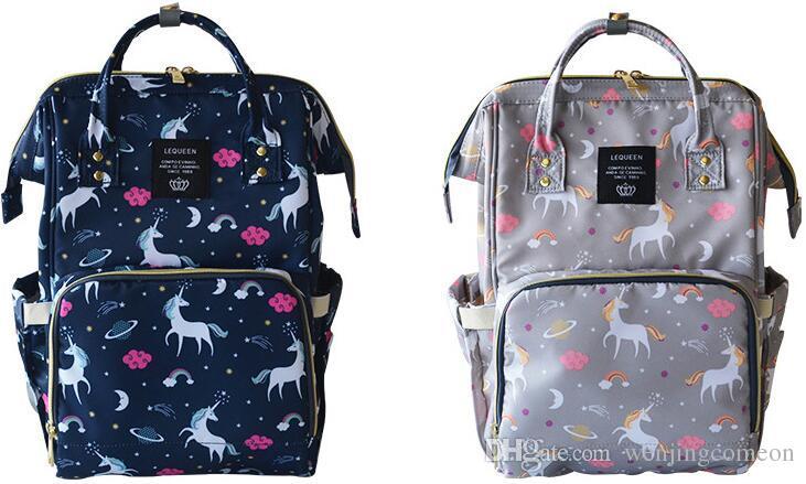 Zaino multifunzionale Zaino Unicorno Multi-Color Baby Mommy Mammy Cambiamento Borsa Mummia Zaino Backpack Pannolino Madre Backpacks di maternità Panno di Oxford Panno