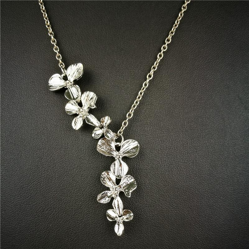 Orchid Trellis New Diamontrigue Jewelry: Wholesale Hot Sale Trendy New Style Small Orchid Necklace