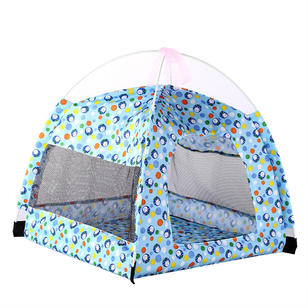 Foldable Pet Tent Pet House Camping Tent Supplies for Dog and Cat Indoor  Outdoor (Blue)
