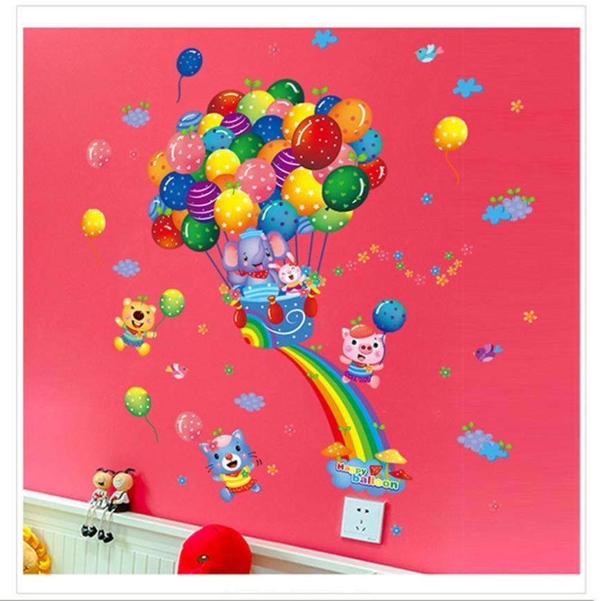 아이들을위한 뜨거운 공기 풍선 만화 아이들 벽 스티커 아이들 침실 훈장 DIY 아기 방 침실 스티커