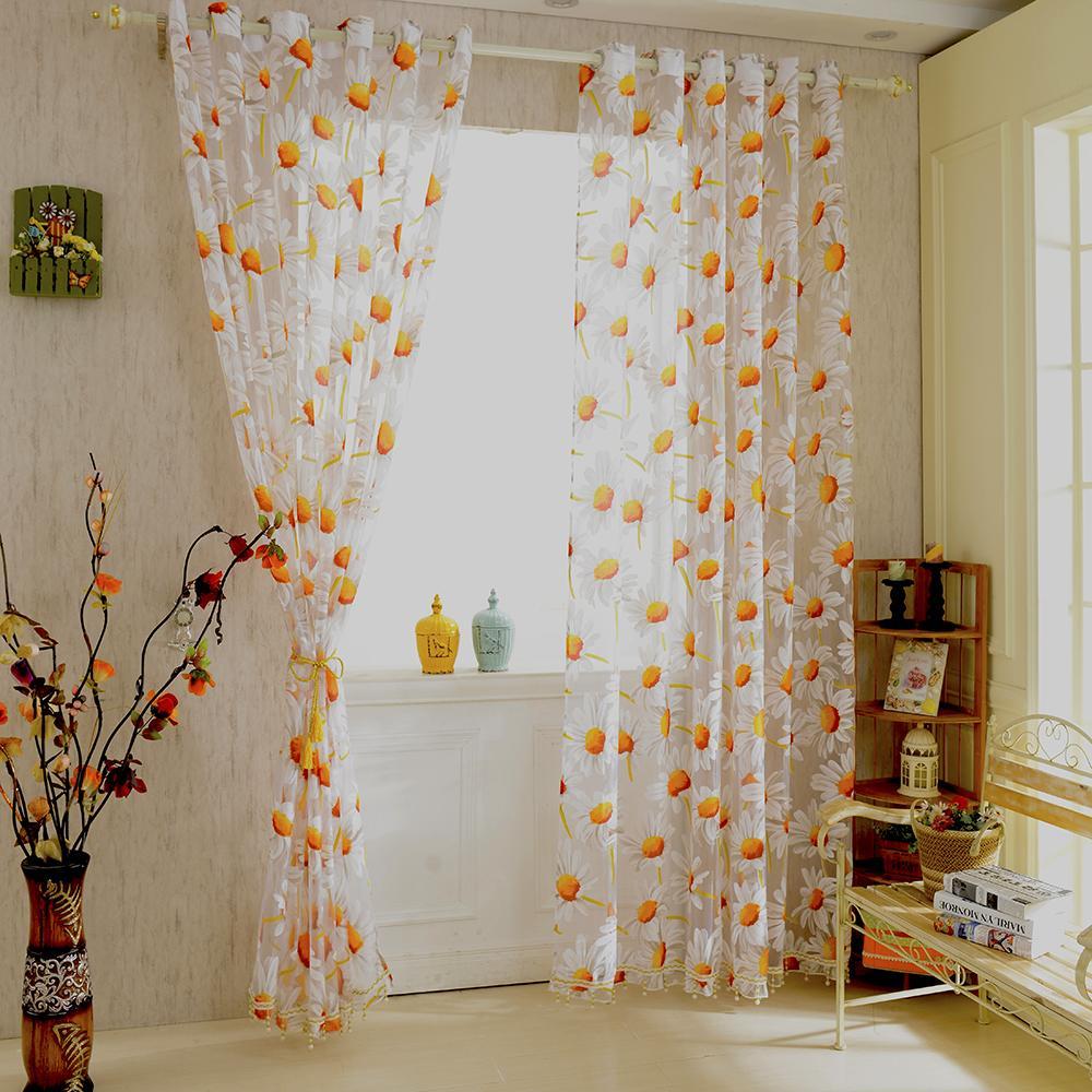 2019 New White Orange 1*2.5M Sunflower Voile Window Panel Sheer ...