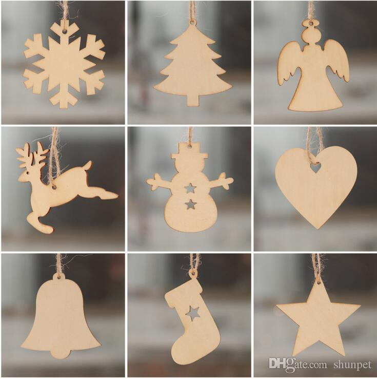 Christmas Tree Ornaments Wood Chip Snowman Tree Deer Socks Hanging