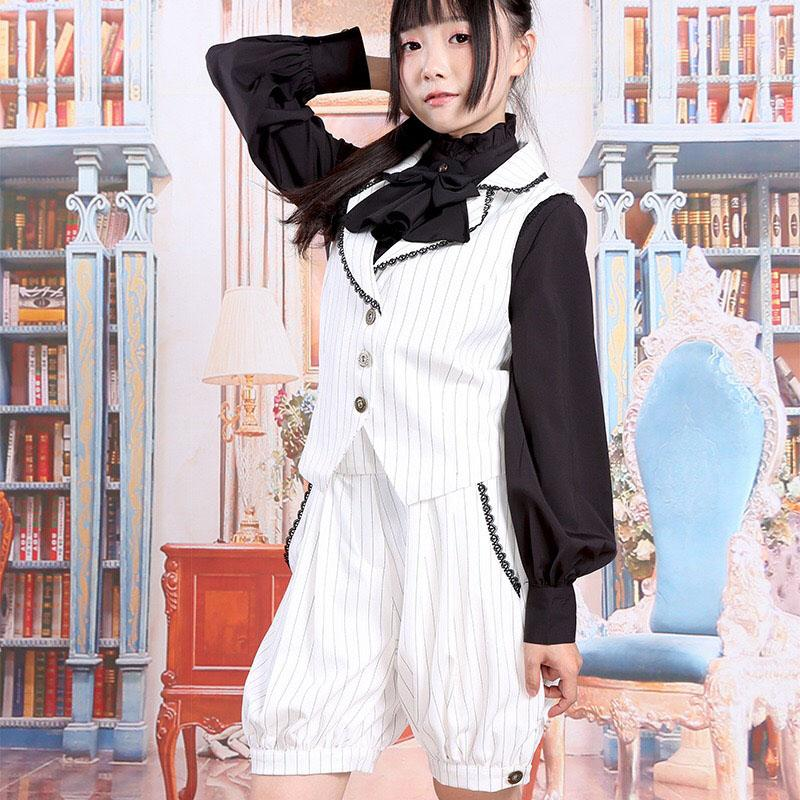 2be206f53ccc Preppy Girls Gay Lolita Striped Vest Waistcoat Jumper Hosen Short Pants  College Student Cosplay Homosexual Outfit For Women Halloween Costumes  Themes For ...