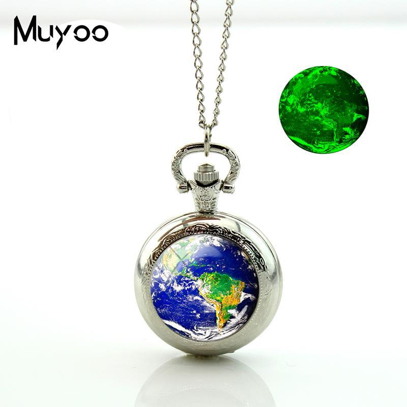 New Earth Solar System Pocket Watch Vintage Long Chain Glowing Pocket Watch Glass Necklace Silver Hand Craft Jewelry
