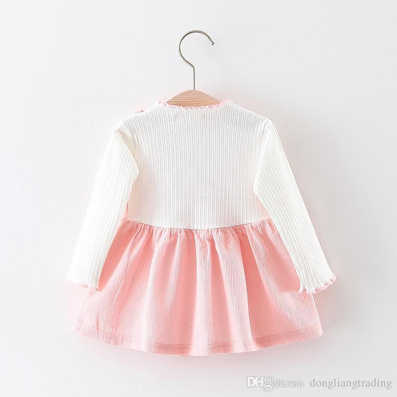 73612ee2df1 Baby Girls Long Sleeve Suspender Floral Dress Spring Autumn Kids ...