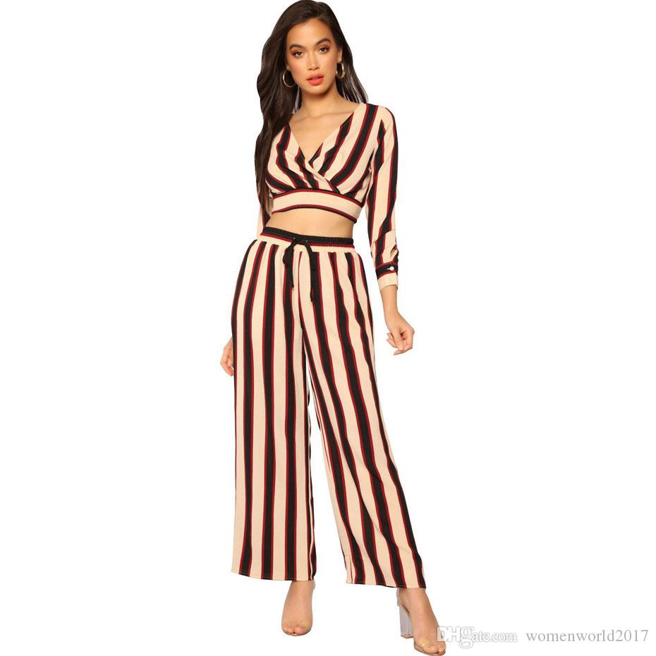 7618e1c3016 2019 Striped Sexy Two Piece Set Long Sleeve Tops+Wide Leg Pants Suits Casual  Outfits For Women Clothes Matching Sets From Womenworld2017