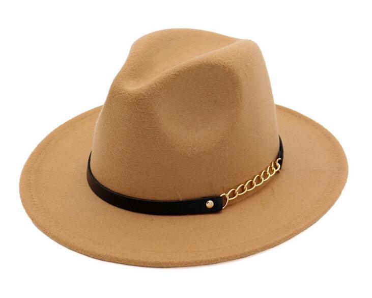 Mode TOP chapeaux pour hommes femmes de mode élégante en feutre solide Fedora Hat bande large à plat Jazz Chapeaux Élégant Trilby Panama Casquettes