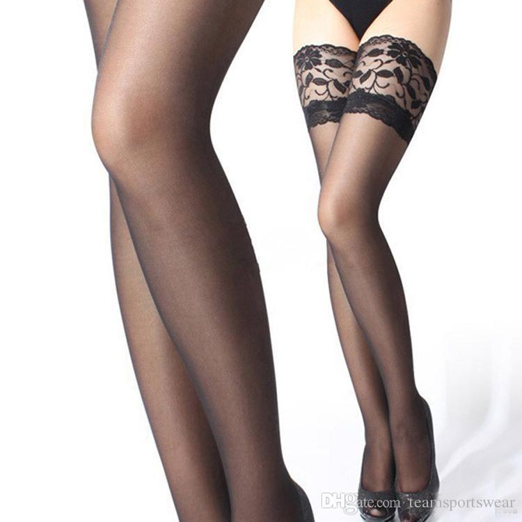 Acheter 6 Couleurs Femelle Noir Bas Jarretelles Femmes Nylon Cuisse Haut Bas  Genou Jambes Minces Mince Dentelle Bas Longs Femmes Sous Vêtements Sexy De  ... 95f2f695c6d