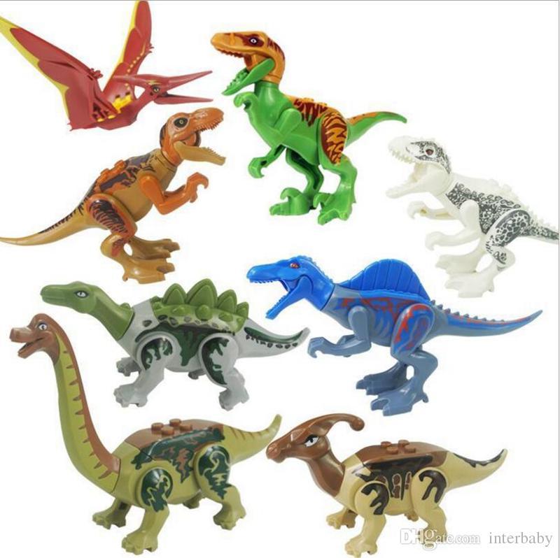 Dinosaure Figurines Pcs Abs Construction Plastique Modèle 3d Bébé En Blocs De Dunosaure 8 Assemblée Miniature Action Jouets uTXPkwOZi