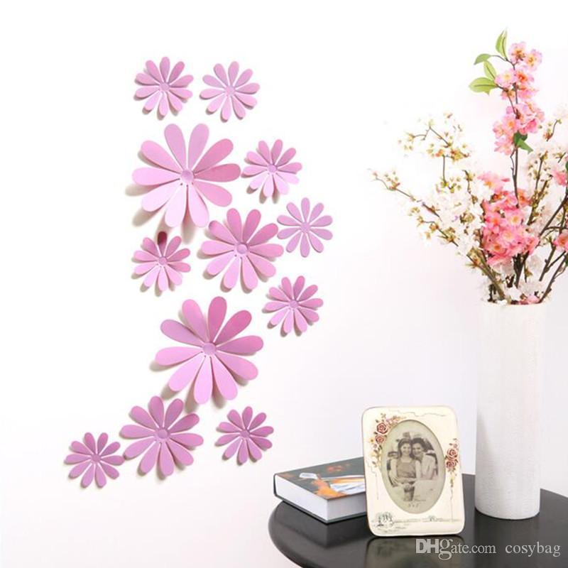 Hermosa Crisantemo 3d pegatinas de pared habitación habitación pvc decal mural artes diy decoración del hogar tatuajes de pared carteles