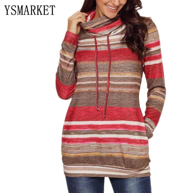 6bdda9ff989fe7 Women Long Tops Vintage Print T Shirt Hight Neck Slim Fit Pullover Sweater  Multicolor Striped Pocket Long Sleeve Ladies Top E251139 Movie T Shirts  Shirt ...