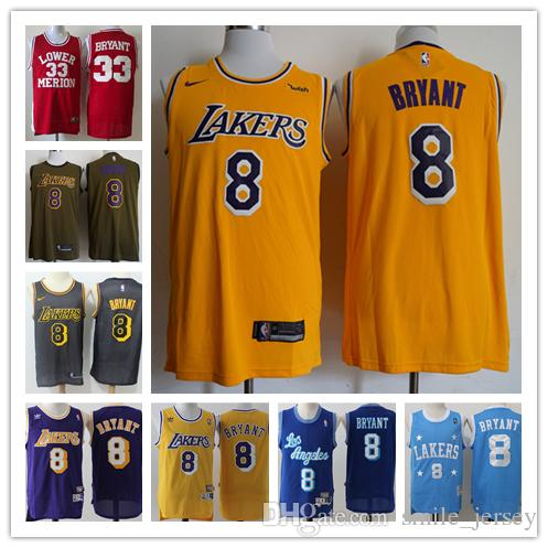 66d4bc2fc96d 2018 New Retro Mens 8 Kobe Bryant Los Angeles Jersey Lakers Basketball  Jerseys Stitched Authentic Classic Lakers Kobe Bryant Basketball Jerseys  From ...