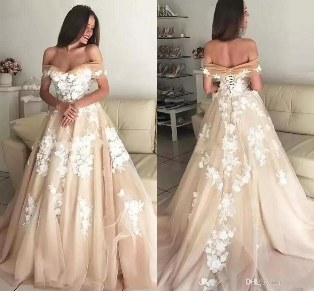 435fbe9dbf2d Discount 2019 Charming Champagne Wedding Dresses Off The Shoulder Appliques  Tulle Bandage Bridal Gowns Custom Made Wedding Gowns Lace Up Back Wedding  ...