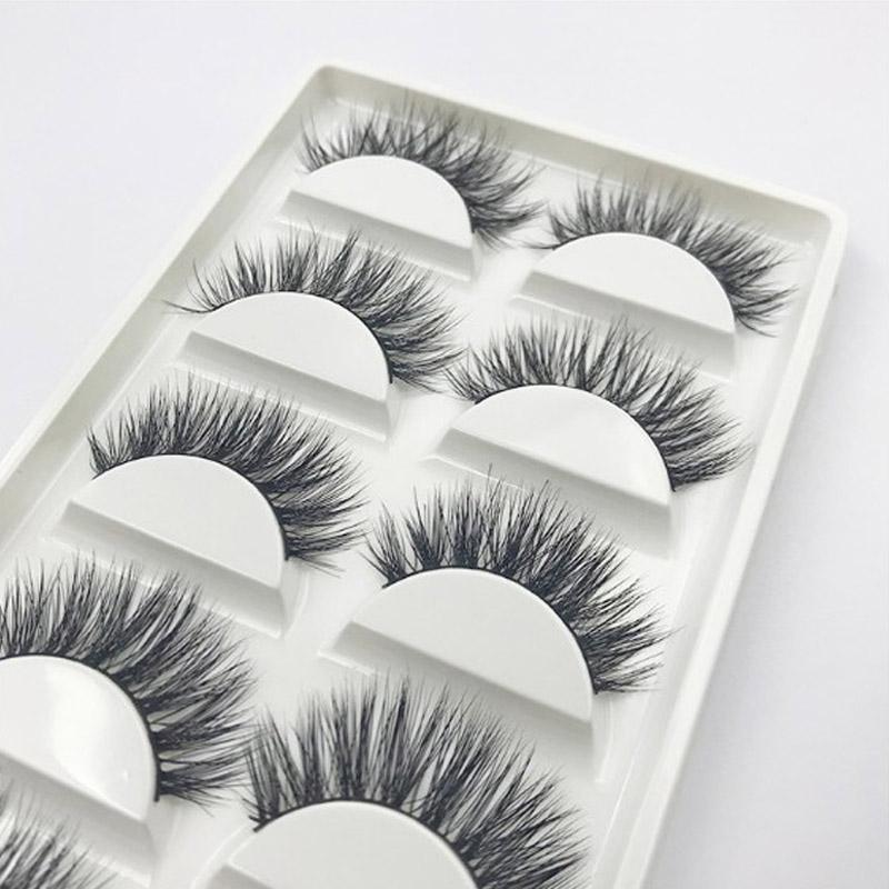 5 Styles 3D Mink Hair False Eyelashes Makeup Handmade Cross Long Messy Fake Eye Lashes Extension Make Up Beauty Tools