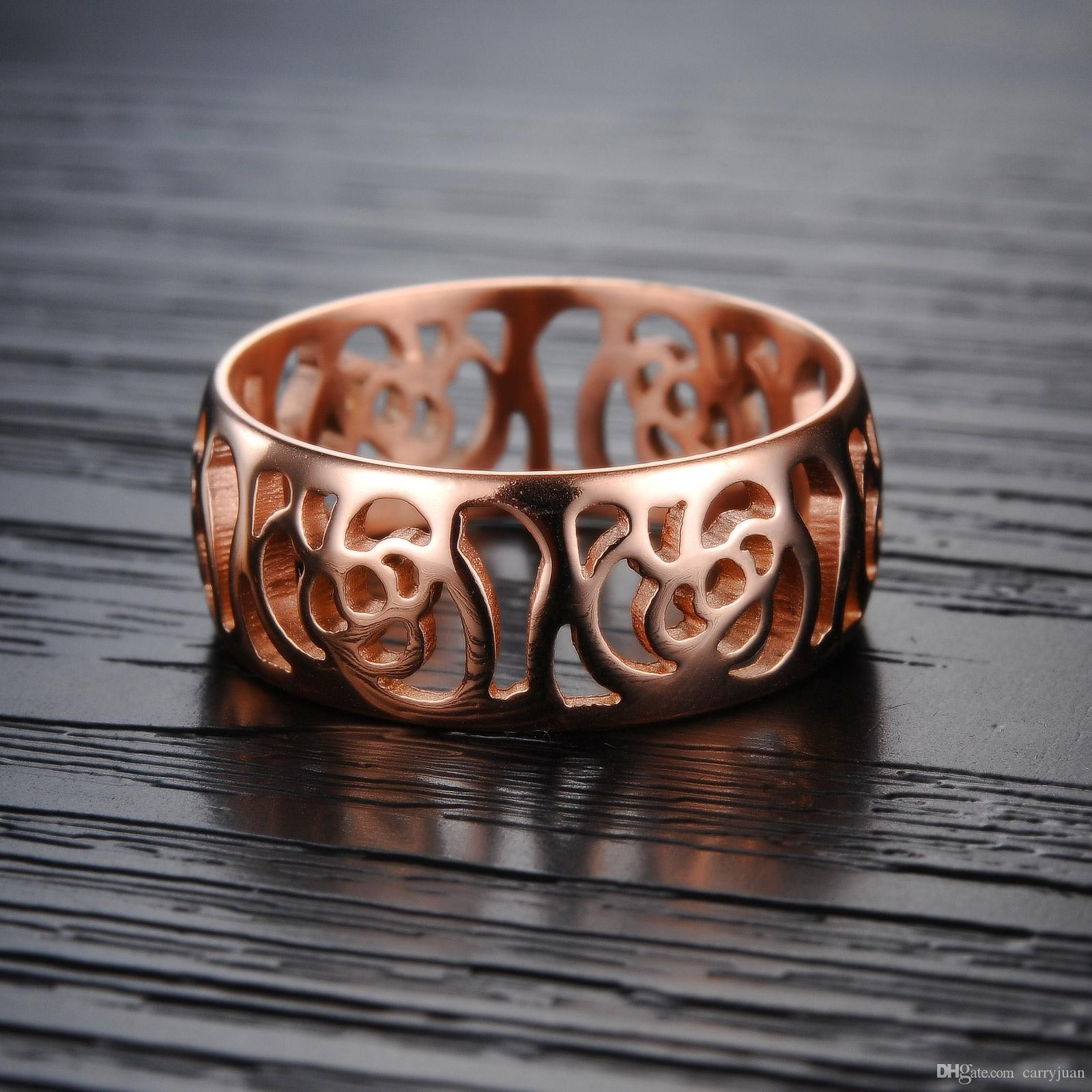 Victoria Wieck 2018 New Arrival Top Selling Fashion Jewelry Stainlesss Steel Rose Gold Filled Party Women Wedding Band Camellia Ring Gift