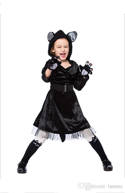 Großhandel Halloween Kindertag Schwarze Katze Rock Leistung Kostüm