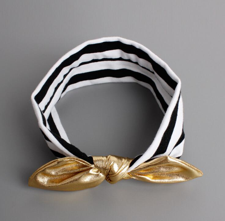 Kids Headband Gold Rabbit Ear Headband Newborn Bowknot Headdress Lovely Bow Headwear Turban Hair Bands Accessories Bebe