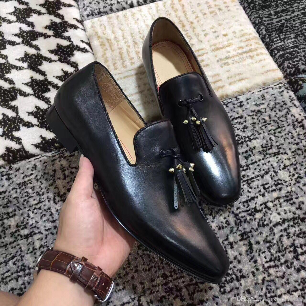 a489c28b5415 High Quality Dandelion Tassel Flat Black Genuine Leather Slip On Loafers  Shoes For Women