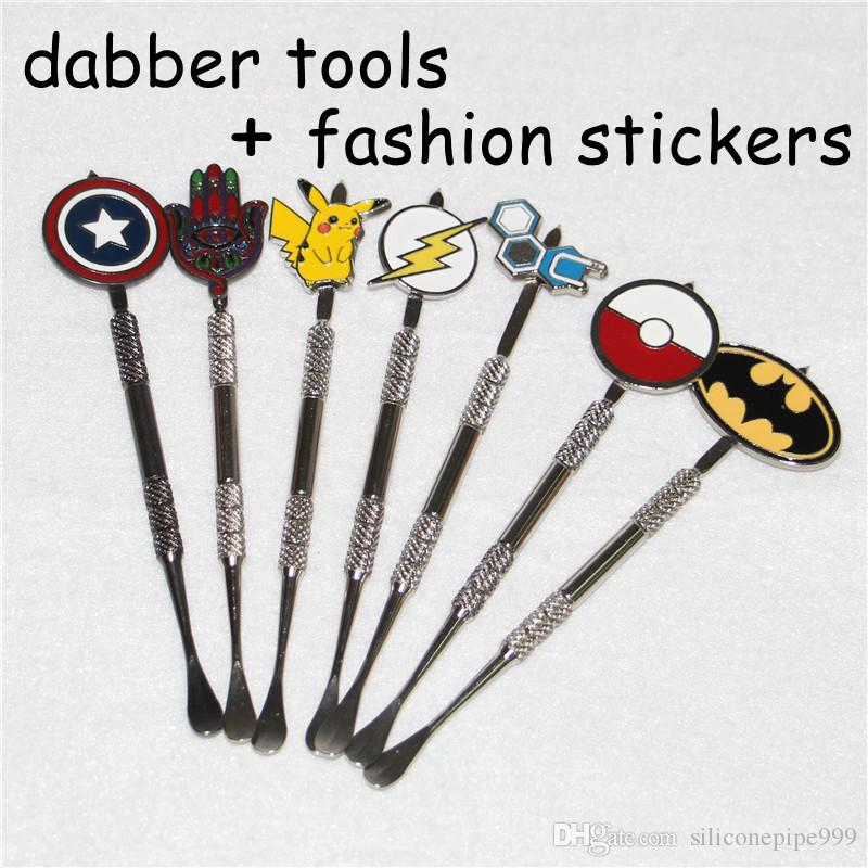 New design Stainless steel ecig dabber tool titanium dab nail for wax skillet snoop dogg atomizer g Pro vaporizer pen with fashion stickers