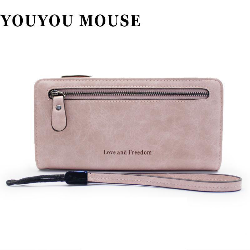 bff8c67acc1 Compre Youyou Mouse Monedero Para Mujer De Estilo Coreano Monedero De Moda  De Alta Capacidad Pu De Cuero Color Sólido Multi Card Bit Portatarjetas  Simple A ...