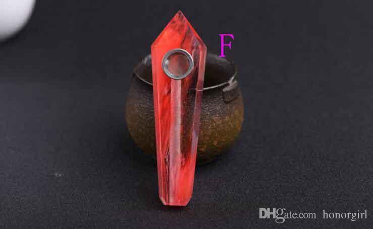 Qualité de cristal naturel quartz tabac cigarette pipe à la main 7 couleurs choisir avec bol en métal pour le verre bongs forage tuyaux en silicone