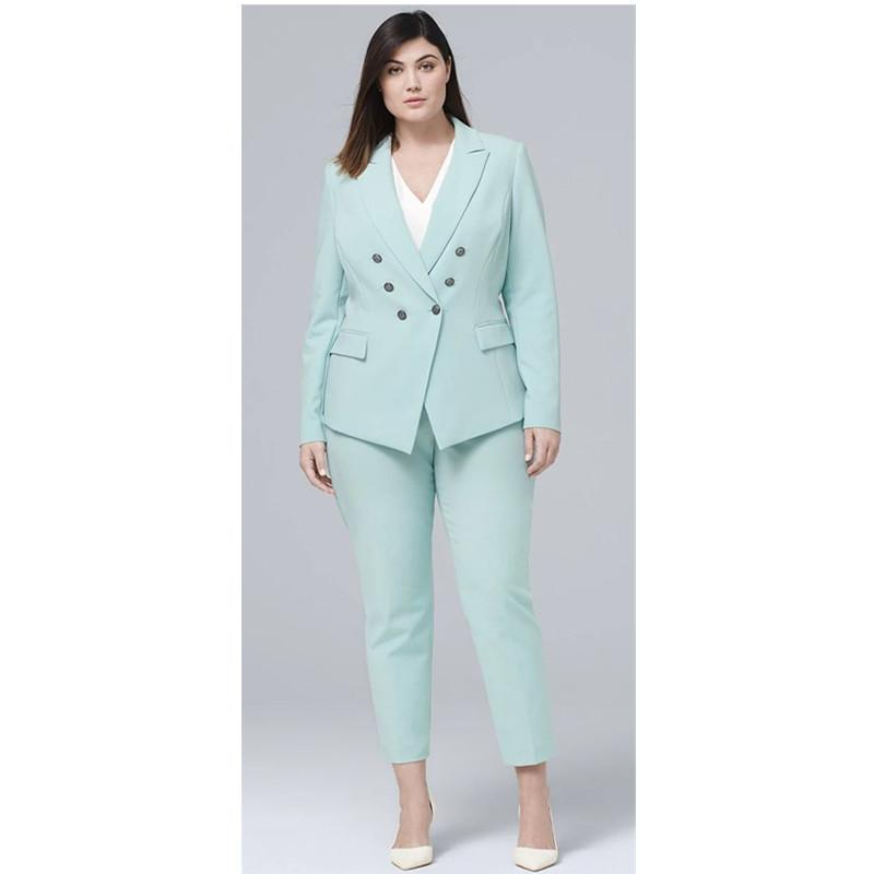 2019 Casual Mint Women Pants Suit Double Breasted Blazer Long Sleeve