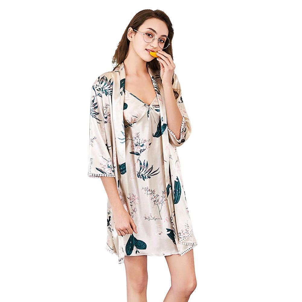Acquista UNLIMON Womens Sexy Robe Set Camicia Da Notte In Seta Mezza Manica  Da Donna Camicia Da Notte Stain Pigiama Set Sleepwear Elegante A  36.53 Dal  ... 910169a0f63